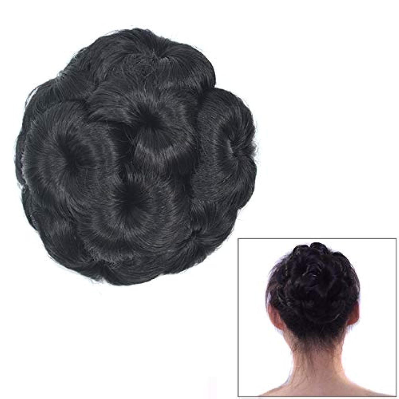 引き出すサーバ基礎理論美しさ 花嫁のためのかつらボールヘッド花のヘアピンのヘアバッグかつらヘッドバンド ヘア&シェービング (色 : Black)