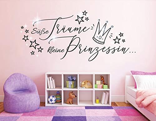 tjapalo® dgr-pkm478 Wandtattoo Süße Träume kleine Prinzessin mit Glitzersteinen Wandaufkleber Mädchen Prinzessin Kinderzimmer Wandsticker B80xH36cm