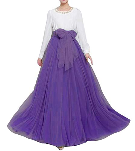 Women Wedding Long Maxi Puffy Tulle Skirt Floor Length A Line with Bowknot Belt High Waisted for Wedding Party Evening(Purple,Small-Medium)