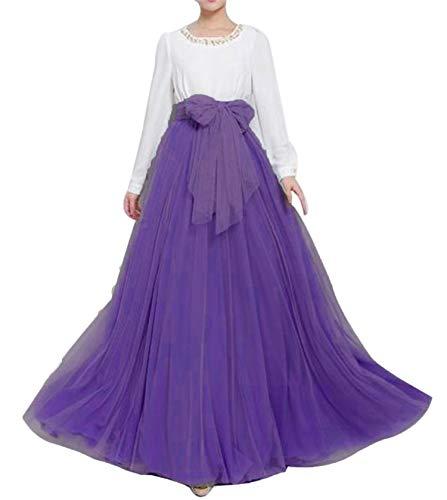 YULUOSHA - Falda de tul larga para mujer, longitud hasta el suelo, con lazo, talle alto, para bodas, fiestas, noche Morado Morado ( 34/48 ES/M