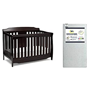 Delta Children Westminster 6-in-1 Convertible Baby Crib, Dark Chocolate + Serta Perfect Slumber Dual Sided Recycled Fiber Core Crib and Toddler Mattress (Bundle)