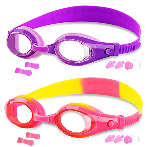 COOLOO Kids Swim Goggles 2 Pack, Swimming Goggles for Boys Girls Age 3-12