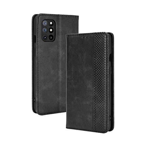 GOGME Leather Folio Cover per OnePlus 8T Cover, PU + TPU Leather Wallet Case, Premium Filp Cover Custodia in Pelle Portafoglio con Funzione Stand, Nero