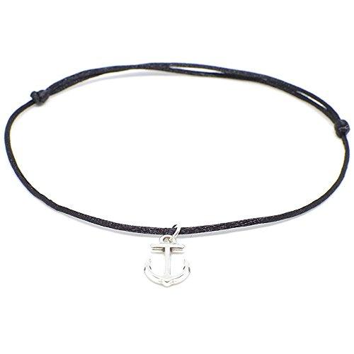 Selfmade Jewelry Anker Fußkettchen Silber - Schwarzes Satinband mit silberfarbenem Anker Anhänger - Handmade