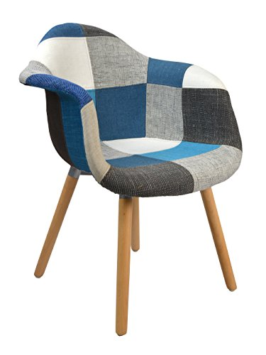 ts-ideen 2er Set Design Klassiker Patchwork Sessel Retro 50er Jahre Barstuhl Wohnzimmer Büro Küchen Stuhl Esszimmer Sitz Holz Stoff bunt blau