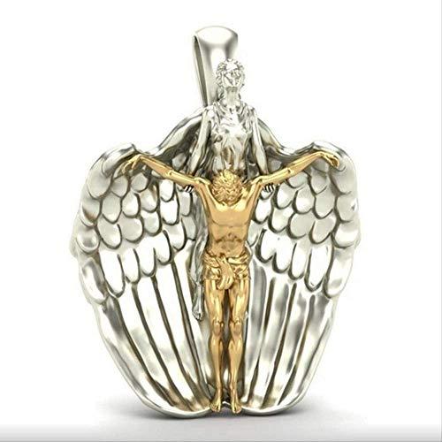 xtszlfj El más Nuevo Colgante de Ángel Santo de la Biblia ruega por Nosotros Collares y Colgantes Arcángel Ángel Jesús Collar joyería