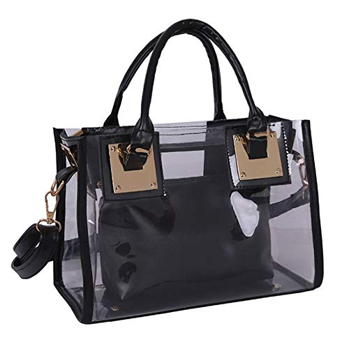 Rullar Women 2 Pcs Small Clear Tote Beach Shoulder Top-handle Bag PVC Transparent Satchel Handbag Purse Black