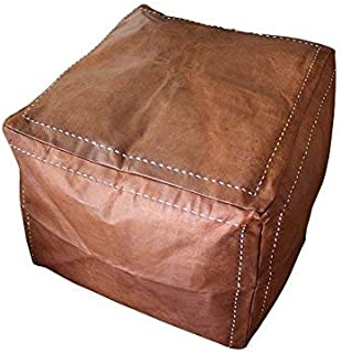 Six Canyons Square Cognac Distressed Leather Ottoman No Stuffing – 20x20x20 Inch Authentic Handmade Moroccan Pouf – Delivered Flat Unstuffed – 100% Morocco Tan Goatskin True Worn Leather
