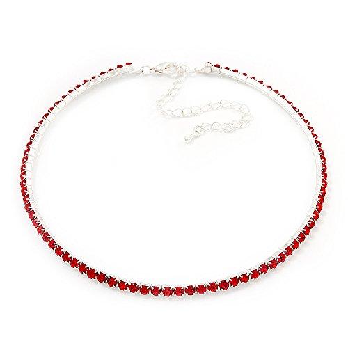 Avalaya Fina Gargantilla Collar con colgante en forma de cristales de Swarovski (Hot rojo)