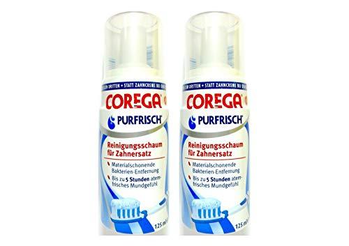 2x COREGA Purfrisch Reinigungsschaum für Zahnersatz, 125 ml, Materialschonend