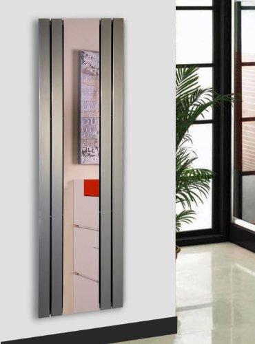 Badheizkörper Design Shanghai 3 mit Spiegel, HxB: 180 x 55 cm, 819 Watt, Edelstahloptik (Marke: Szagato) Made in Germany/Bad und Wohnraum-Heizkörper (Mittelanschluss)