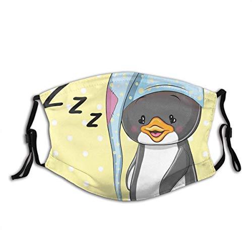 Mundschutz Gesichtsschutz Schläfriger Baby-Pinguin in der Kapuze Bereit, Bett-glücklichen Traum-Cartoon der Kindheit zu betten Waschbar Atmungsaktive Staubdicht Schutz Bandana Schal mit Filter