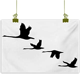 Homrkey Wall Art Decor Poster Painting Silhouette of Group of Flying Birds Gulls in The Sky Season Migration Themed Image Black White Modern Minimalist Atmosphere 31
