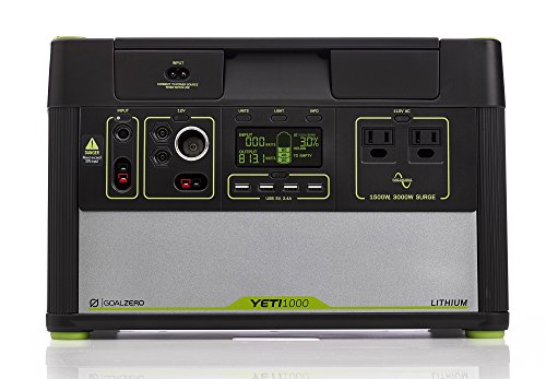 Goal Zero Yeti 1000 Lithium Portable Power Station, 1045Wh Silent Gas Free Generator Alternative with 1500W (3000W Surge) Inverter, 12V and USB Outputs (Renewed)