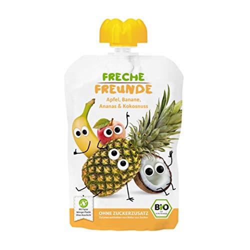 FRECHE FREUNDE Bio Quetschie Apfel, Banane, Ananas & Kokosnuss, Fruchtmus im Quetschbeutel für Babys ab dem 6. Monat, glutenfrei & vegan, 6-er Pack (6 x 100g)
