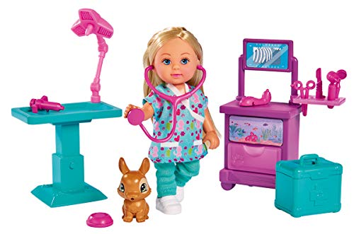 Simba 105733486 - Evi Love Doktor Evi Klinik / Evi als Tierärztin / mit OP-Tisch und Medizinschrank / mit Hase und Zubehör / Ankleidepuppe / 12cm, für Kinder ab 3 Jahren