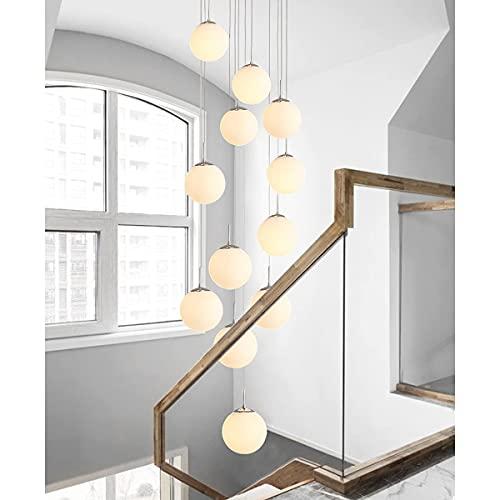 Lámpara colgante LED escalera larga de bola de cristal de 12 llamas...