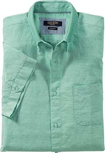 Franco Bettoni Herren Leinenhemd, Freizeit-Hemd in Mintgrün für Männer, Leichte Kurzarm Herren-Hemden mit Baumwoll-Anteil, Größe: 39/40-45/