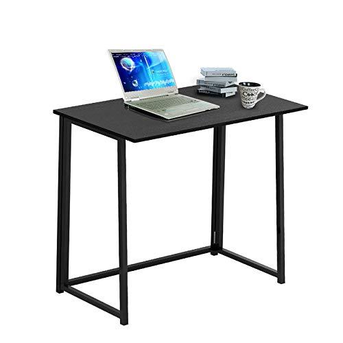 TZUTOGETHER Escritorio plegable para computadora,mesa plegable negra,escritorio de estudio moderno y simple estilo,mesa para computadora portátil con marco negro para espacios pequeños(80*45*74cm)