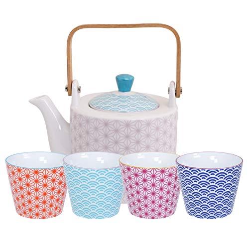 TOKYO design studio Star and Wave Tee-Set für 4 Teetassen aus hochwertigem Porzellan und 1 Teekanne, dekorative Geschenk-Box, mehrfarbig