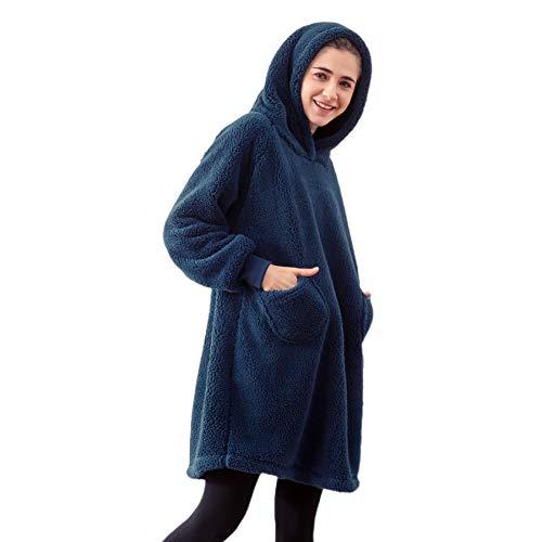 Bedsure Batamanta Mujer Polar Invierno - Bata Manta para Hombre con Capucha, Sudadera Manta con Mangas, Hoodie Blanket de Tejido Felpa Suave con Bolsillo Frontal, Azul Oscuro, 95x85