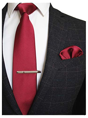 JEMYGINS Burgundy Formal Necktie and Pocket Square, Hankerchief and Tie Bar Clip...