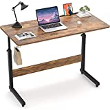 Armocity Height Adjustable Desk, 39' Manual Standing Desk Small Mobile Rolling Computer Desk Portable Laptop Table with Wheels for Home Office Living Room Bedroom, Rustic
