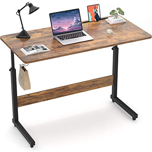Armocity Height Adjustable Desk, 39' Manual Standing Desk Small Mobile Rolling Computer Desk with Wheels and Hook, Portable Laptop Table for Home Office Living Room Bedroom, Rustic