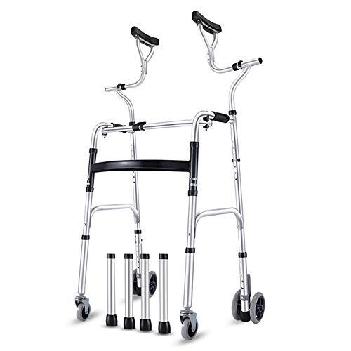 ZAQI Rollator Gehhilfen Senioren Walker mit Achselstütze, zusammenklappbare Hochleistungs-Aluminiumkrücke mit Rädern, große Menschen Stehen aufrecht Walker, Last 190 kg (420 lbs) (Size : 4 Wheels)