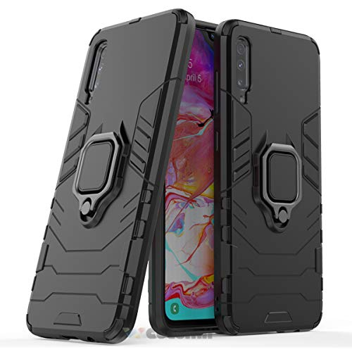 Cocomii Black Panther Ring Galaxy A70 Case, Slim Thin Matte Vertical & Horizontal Kickstand Ring Grip Reinforced Drop Protection Fashion Phone Case Bumper Cover for Samsung Galaxy A70 (Jet Black)