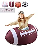 Stuffed Animal Storage Bean Bag Chair For Kids 26 Inch Extra Large Blanket Fill Beanbag Cover Plush Organizer For Child Seat Storage Sack Soft Smooth Polyester Kid'S Room Originality,Rugby