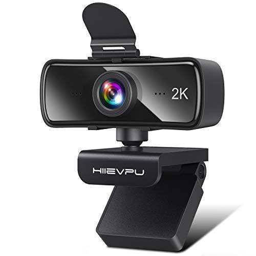 2K Webcam mit Mikrofon für PC und Laptop, Hiievpu USB Webkamera mit Abdeckung, Plug & Play Kompatibel mit Windows, Mac, und Android, für Streaming, Spiele, Video konferenzen, Zoom, Cisco WebEx