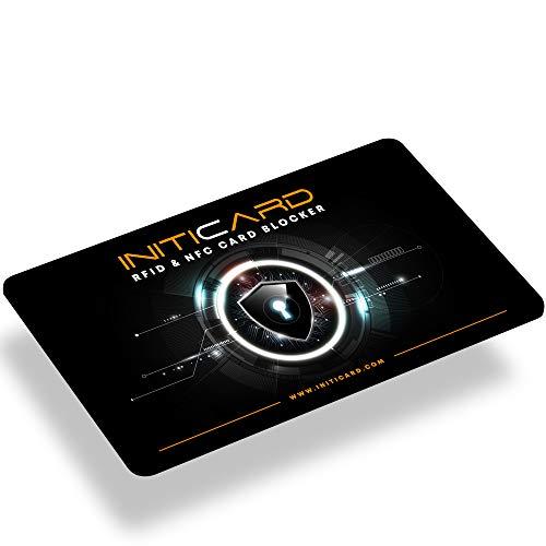 Premium INITICARD Schutzkarte | RFID & NFC Card Blocker mit integriertem Chip | Neue Generation | Patentierte Technologie | Ultradünn 0,9 mm | Premium EDC Produkt
