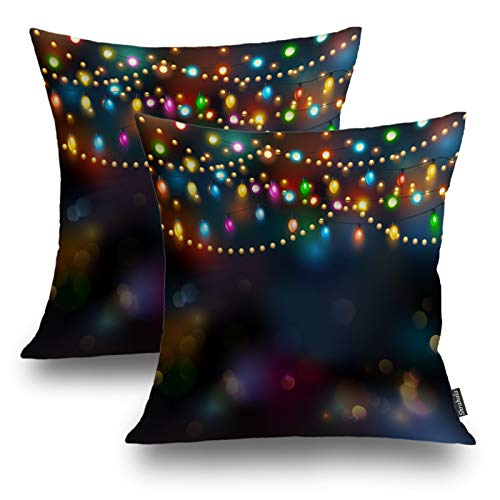 Shrahala Christmas Decorative Pillow Covers, Christmas Holiday Ornaments Bright Multi Colors Decorative Pillowcases 18x18 inch Set of 2 Cushion Case for Sofa Patio Car Throw Pillow Covers 45cm x 45cm