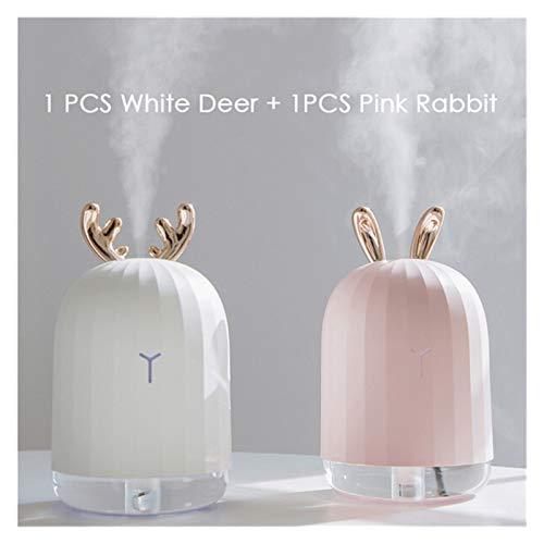 LAKYT Humidificador Creativo Ciervo Blanco Rosa Conejo humidificador de Aire Lindo Difusor USB 220ml Humidificador de Escritorio de Oficina en casa con luz de Noche Colorida Ambientador Casa