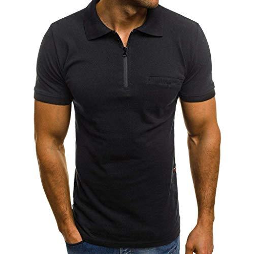 Xmiral Polo Shirt Herren Einfarbig Kurzärmeliges Reißverschluss V-Ausschnitt T Shirt Atmungsaktives Sportshirt Komfortables kurzärmliges Funktionsshirt(Schwarz,3XL)