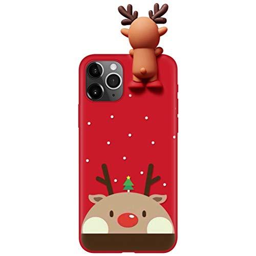 Pnakqil Funda para iPhone SE 2020 Funda iPhone 7 / iPhone 8 Silicona con Navidad Dibujos 3D Ultrafina Suave Carcasa Antigolpes Gel TPU Piel Regalo de Funda Navidad para iPhone8 / iPhone7, Elk 01