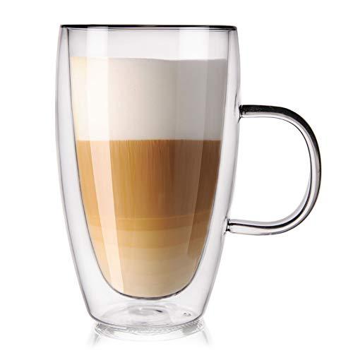 ORION Teeglas Kaffeeglas Doppelwandiges Doppelwandige Gläser Thermoglas für KAFFEE Latte Cappuccino Tee 430 ml
