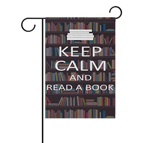 Gartenflagge Bücherregal Keep Calm Read 30,5 x 45,7 cm Banner doppelseitig für Rasen Hof, Außendekoration, Polyester, Image 760, 12x18(in)