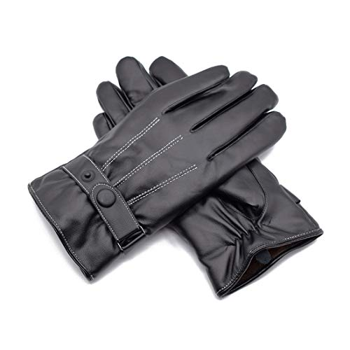HI JANE Schwarze gefütterte PU-Lederhandschuhe für Damen, warmes Winterfutter, Touchscreen-Auto-Text-Handschuhe