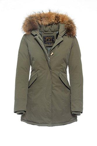 Basic.de Damen-Parka Echtfell Winter-Jacke Khaki XL