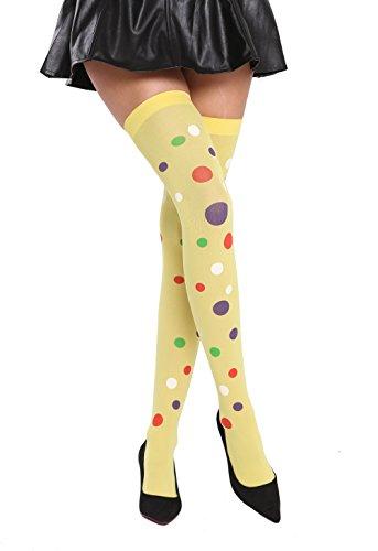 Medias amarillas con lunares de colores de Mujer