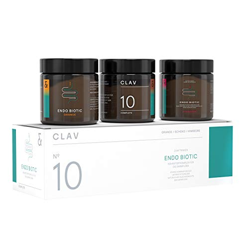 CLAV N°10 ENDO BIOTIC Set | Probiotics Bio Cultures Complex Drink Powder | 9 Bacterial Multi-Strains + Inulin | Lactose Free + No Sugar + Vegan | 90g Powder Made in Germany
