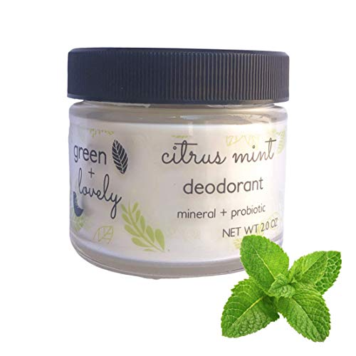 Citrus Mint Natural Deodorant, Mineral + Probiotic Formula. Vegan. 2-oz Jar.