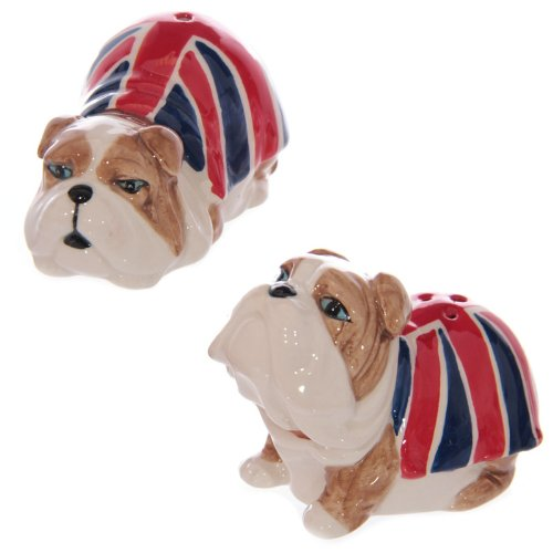 Puckator Union Jack British Bulldog Salt & Pepper Shakers Set, Ceramic, Multicolour, 4.5 x 4.5 x 7 cm, UKF30
