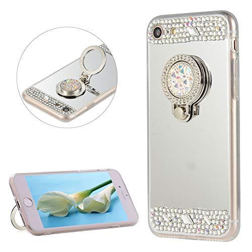 DasKAn Diamante de imitación Espejo Caso para iPhone 7 Plus / 8 Plus 5.5'', con Soporte de Anillo de Metal para el Dedo, 3D Diseño de Diamantes de Cristal Contraportada Funda de Silicona TPU,Plata