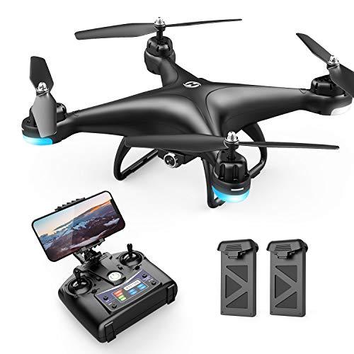 Holy Stone HS110D Drohne mit Kamera 1080P HD FPV Live Übertragung 120° Weitwinkel RC Quadrocopter ferngesteuert mit 2 Akku Lange Flugzeit,Höhenhaltung,Handysteuerung,Flugbahn für Kinder und Anfänger