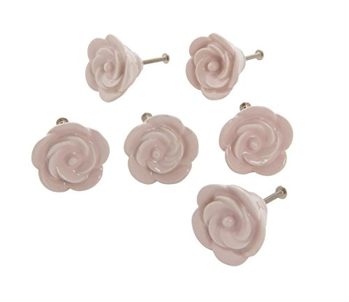 Dritz Home 47058A Ceramic Flower Knob, Pale Pink (6-Piece)