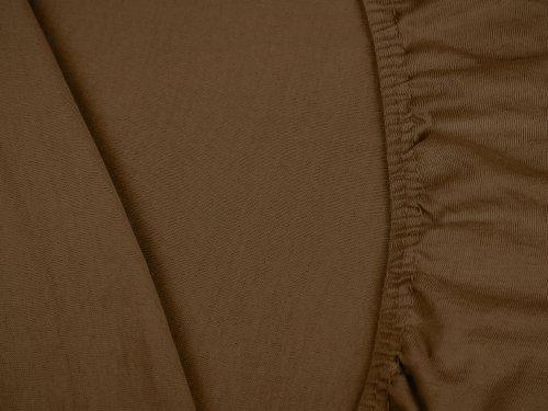 npluseins klassisches Jersey Spannbetttuch – erhältlich in 34 modernen Farben und 6 verschiedenen Größen – 100% Baumwolle, 70 x 140 cm, schokobraun - 5
