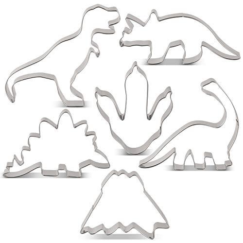 KENIAO Dinosaurier Ausstechformen Set Dinos Fondant Brot Ausstecher für Kinder - 6 Stück - T-Rex, Brontosaurus, Triceratops, Stegosaurus, Fuß des Dinosauriers und Vulkan Keksausstecher - Edelstahl